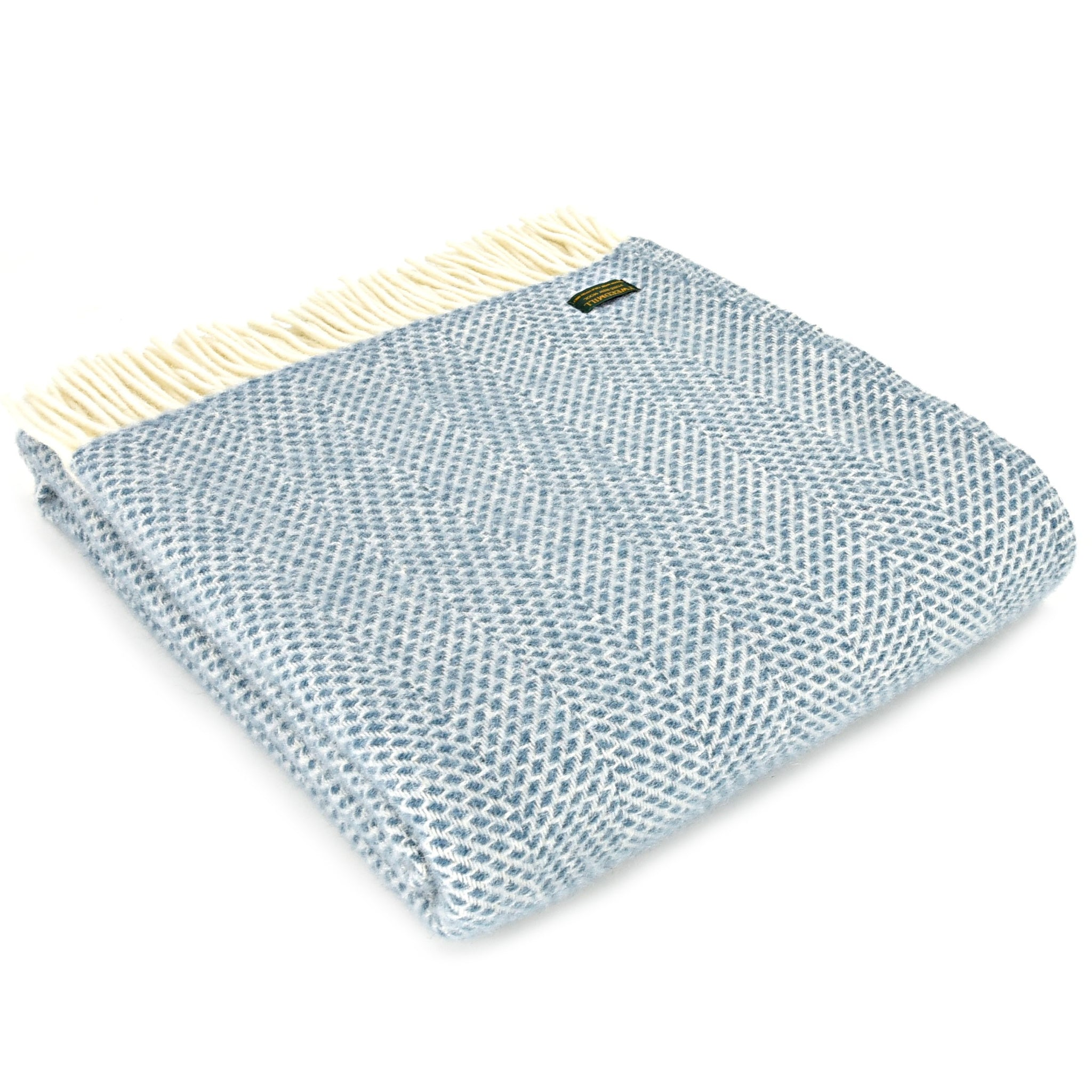 Tweedmill Petrol Blue Beehive Pure New Wool Blanket Throw