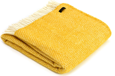 Bestselling Mustardy Yellow Beehive Wool Tweedmill Blanket Throw