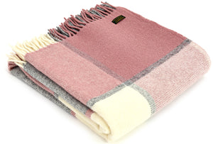 Tweedmill Rose Pink and Grey Block Check Wool Blanket Throw