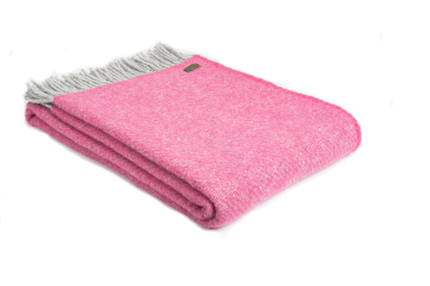 Tweedmill Pink Boa Pure New Wool Large Blanket Throw