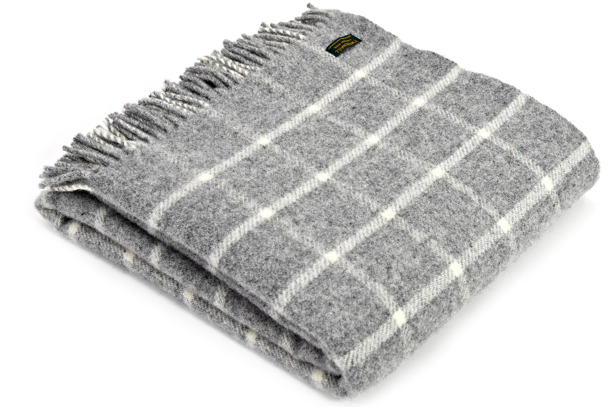 Classic Tweedmill Grey Chequered Wool Blanket Throw