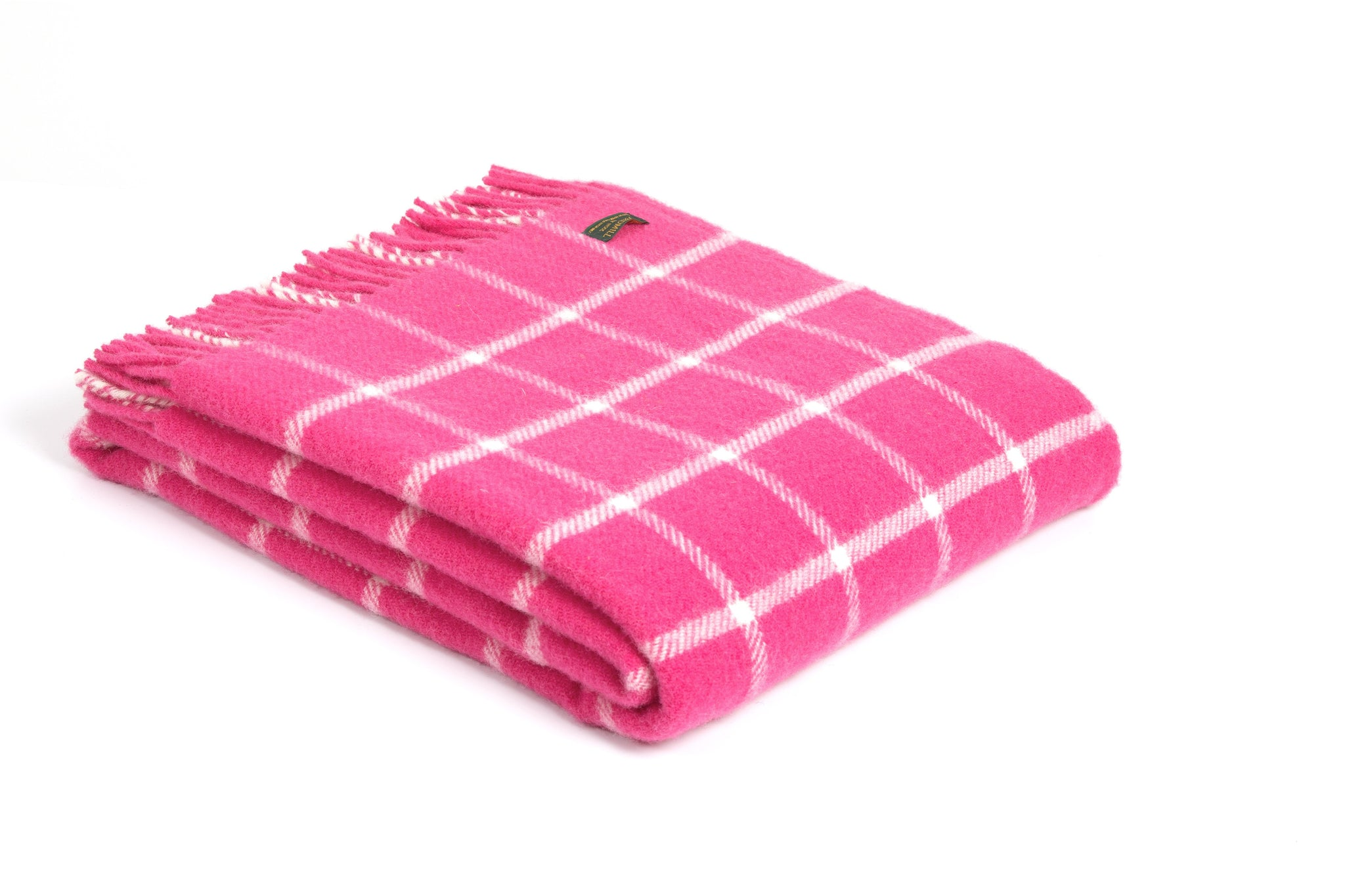 Tweedmill New Pink Chequred Wool Blanket Throw