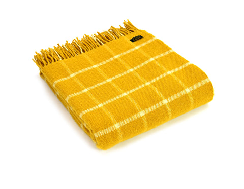 Bestselling Tweedmill Yellow chequered wool throw blanket