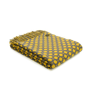 Brand new Tweedmill Grey and Yellow Crossroads design Wool throw blanket