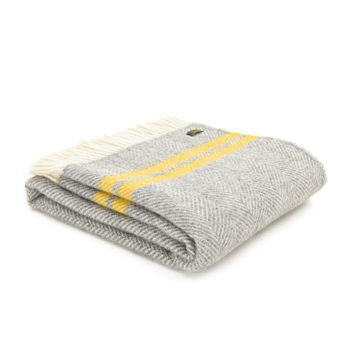 Brand new Tweedmill Grey and yellow two stripe Wool throw blanket