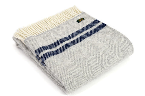 Tweedmill Fishbone Grey Navy Two Stripe Wool Blanket Throw