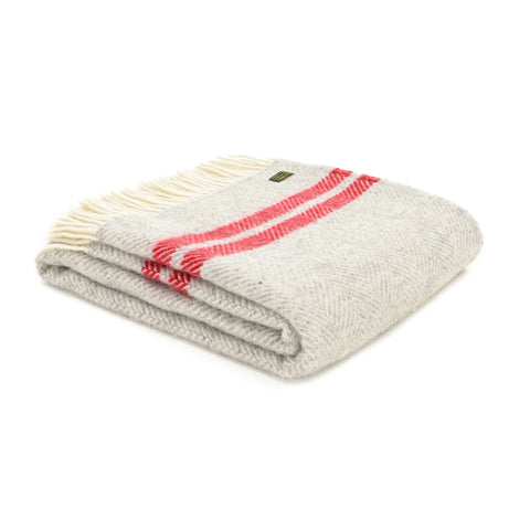 Tweedmill Fishbone Grey Watermelon red Two Stripe Wool Blanket Throw