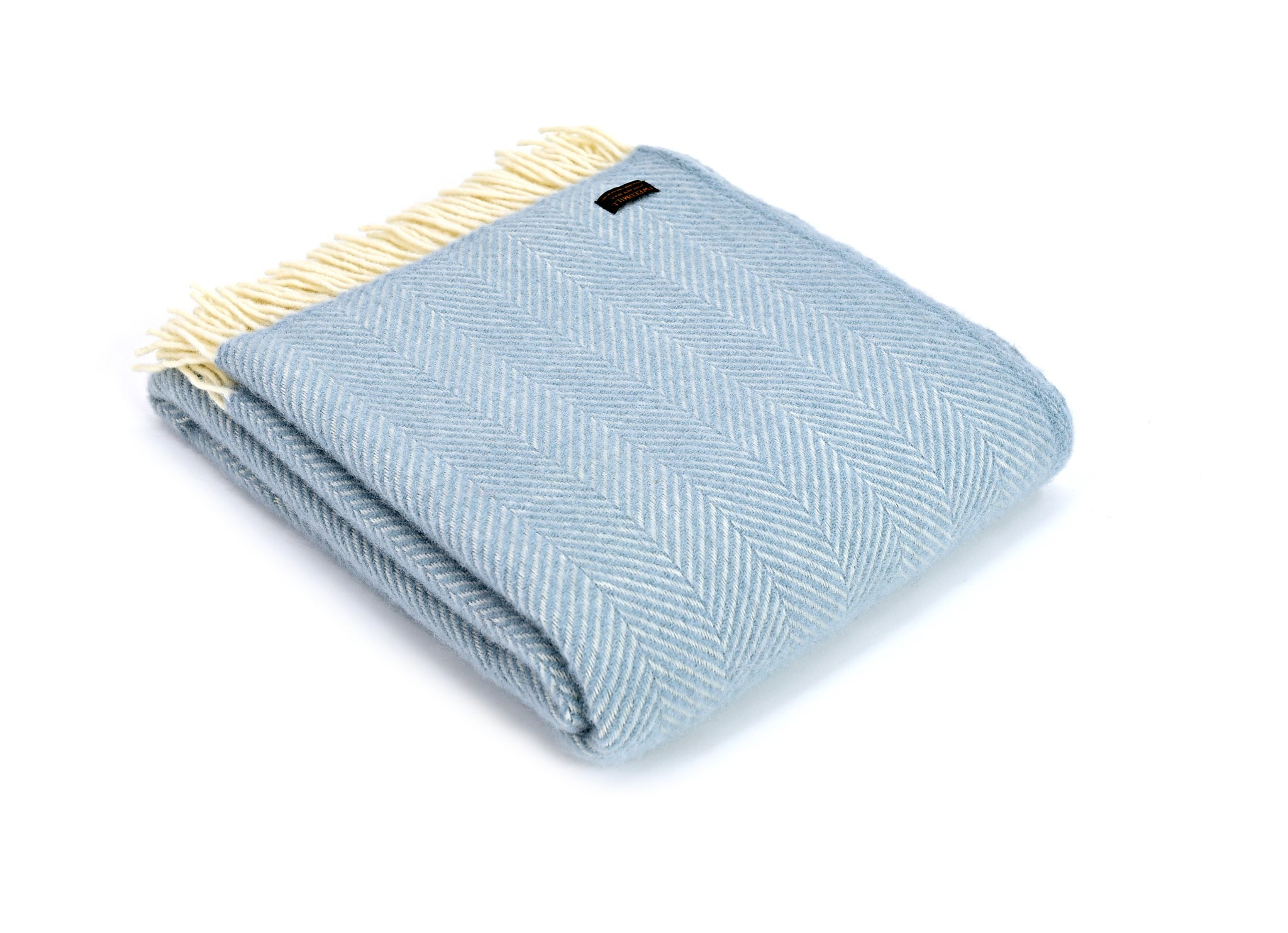 Tweedmill Duck Egg and Cream Fishbone Wool Blanket Throw