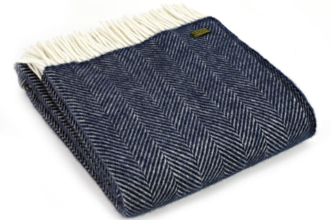 Tweedmill Navy Fishbone Wool Blanket Throw