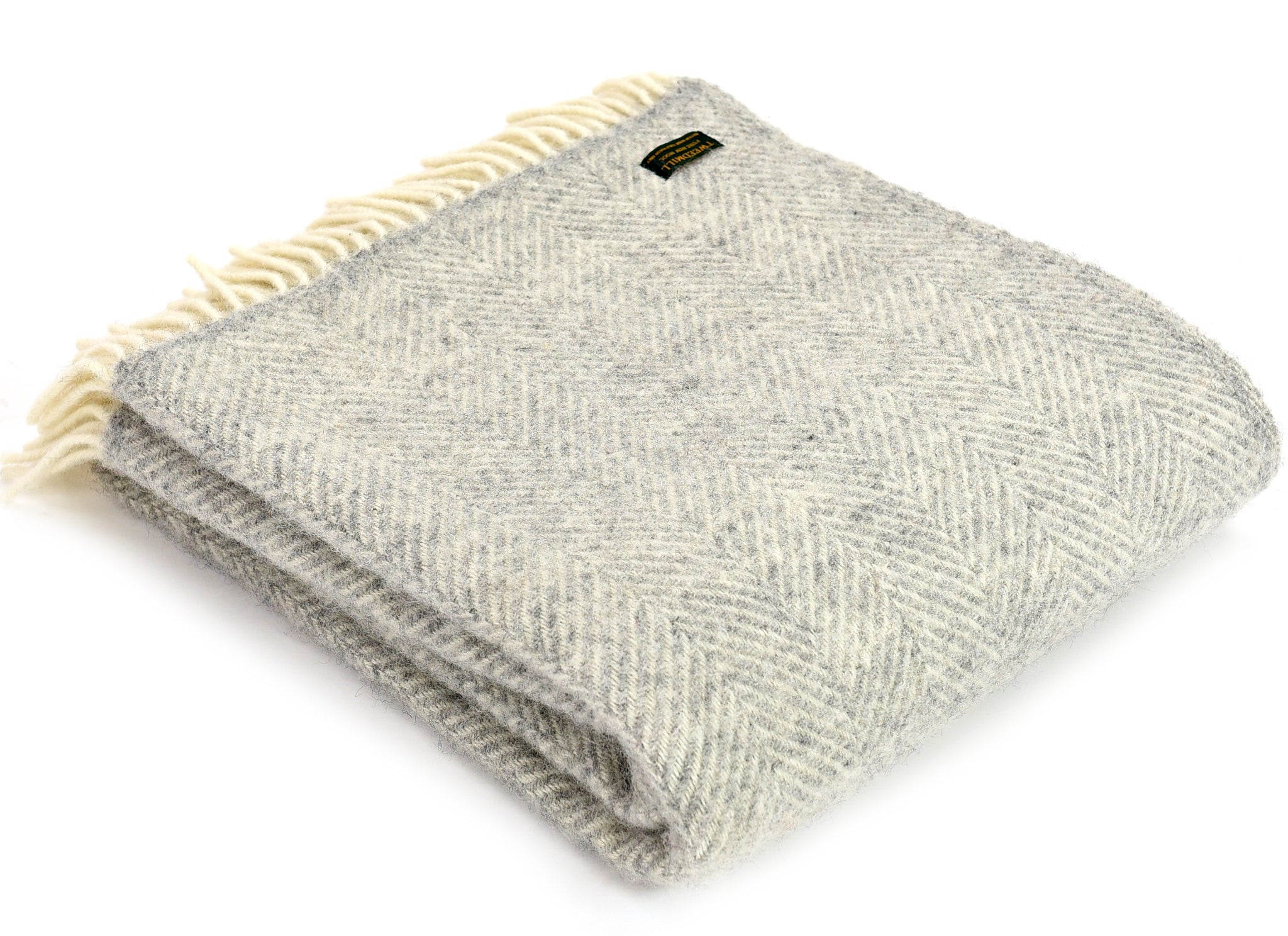 Tweedmill Silver Grey Herringbone Blanket Throw