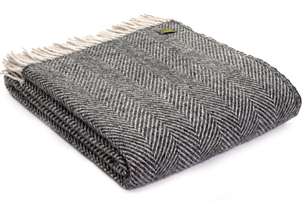 Tweedmill Charcoal and Silver Herringbone Blanket Throw