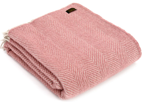 Tweedmill Rose Pink Herringbone Wool Blanket Throw