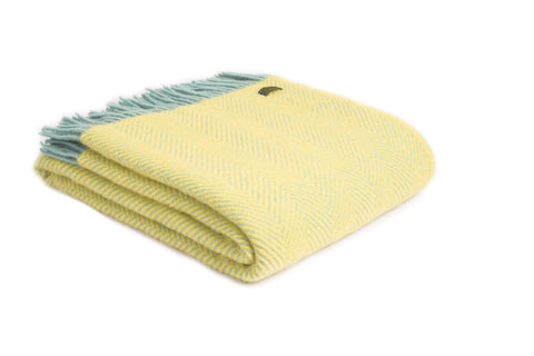 Brand new Tweedmill lemon with ocean herringbone Wool throw blanket
