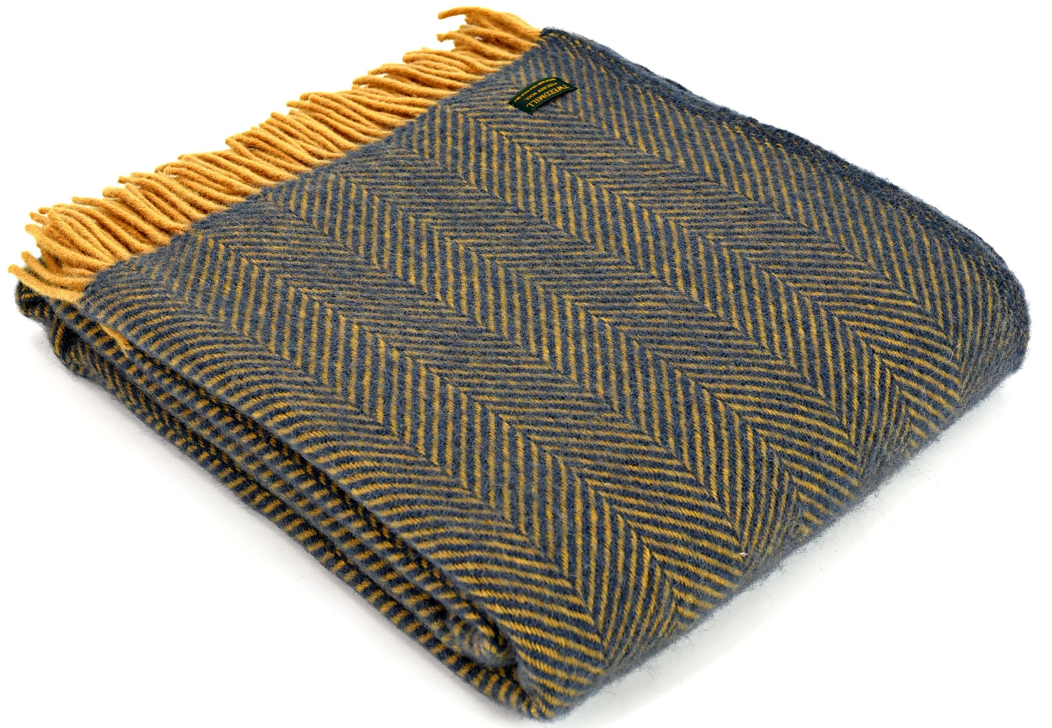 Tweedmill Navy and Mustard Herringbone Wool Blanket Throw