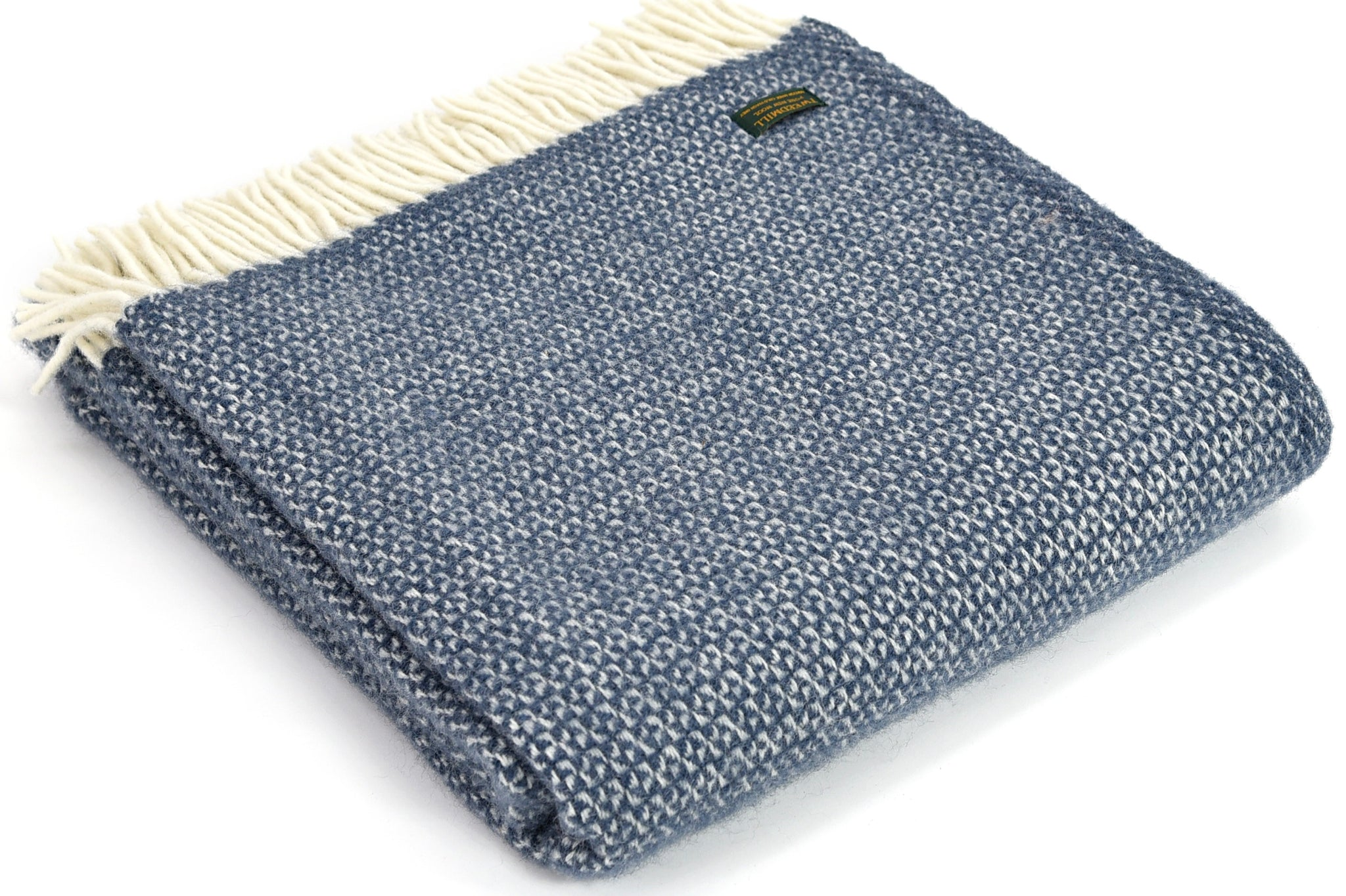 Best selling Tweedmill Blue Slate Illusion Wool Blanket Throw
