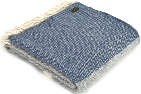 Tweedmill Illusion Grey with panel Slate Blue Wool Blanket Throw