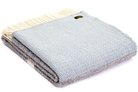 Bestselling Tweedmill Illusion Grey with panel Duck egg blue Wool Blanket Throw