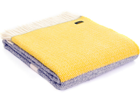 Tweedmill Illusion Grey with Panel yellow Wool Blanket Throw