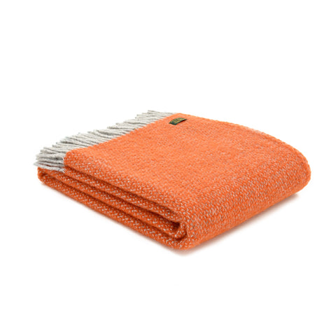 Tweedmill Pumpkin Orange Illusion Wool Blanket Throw