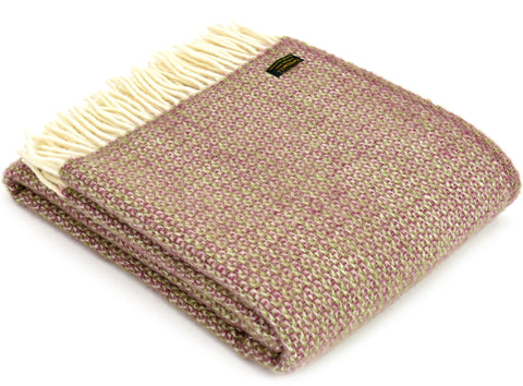 Tweedmill Rose Pink and Green Illusion Wool Blanket Throw