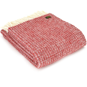Tweedmill Red and Silver Illusion Wool Blanket Throw