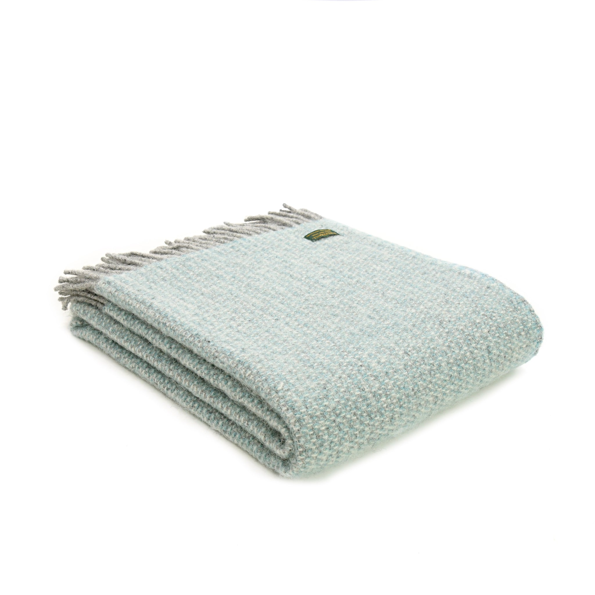 Tweedmill Illusion Spearmint with Grey Wool Blanket Throw