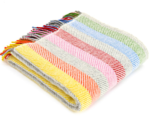 Tweedmill Silver Grey Rainbow Stripe Wool Blanket Throw