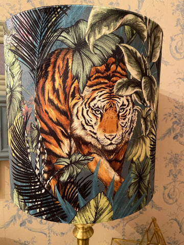 Handmade Exclusive Teal Tiger Velvet Lamp Shade