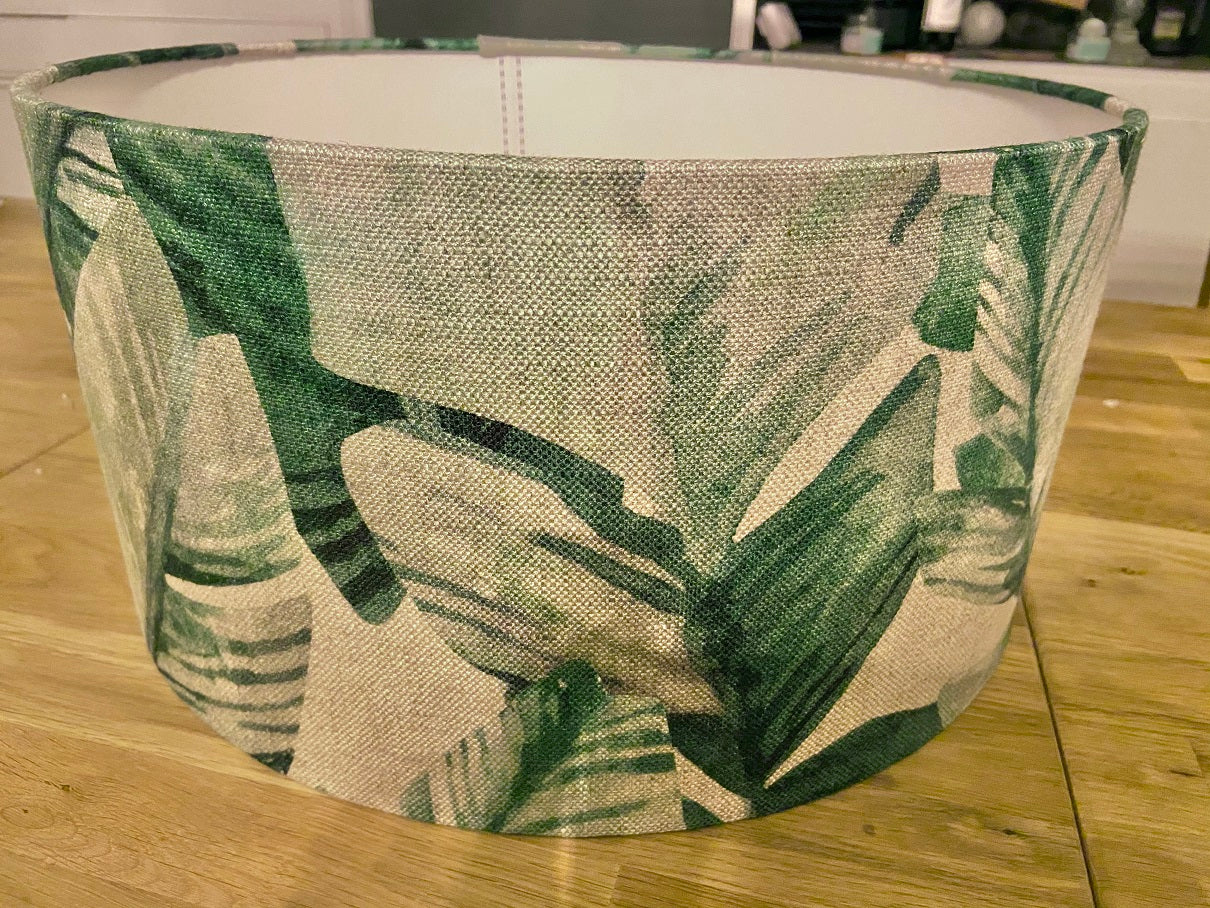Handmade Exclusive Green and Cream tropical Lamp Shade