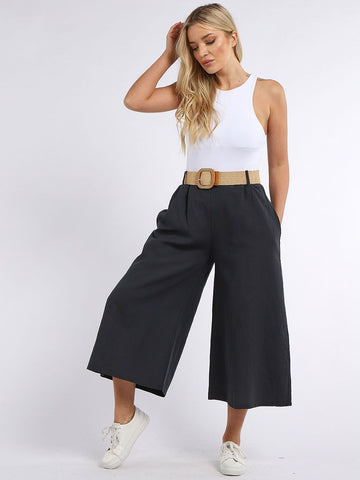 Italian Made Plain Buckle Belt Linen Palazzo Trousers Charcoal