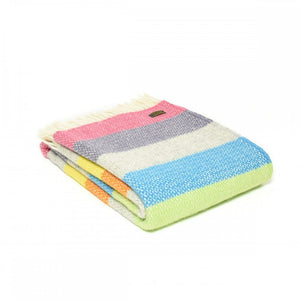 Brand New Tweedmill Tutti Frutti Stripe Design Multi Wool Blanket Throw