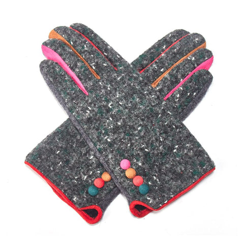Ladies Grey Tweed Gloves