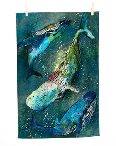 New Whale Tea Towel made in the South West