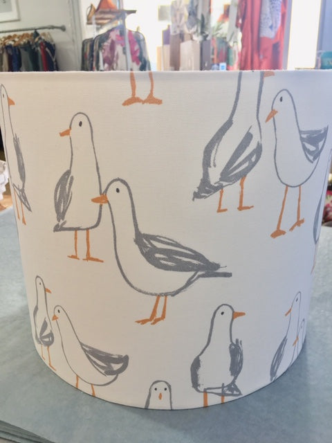 Handmade Seagull Fabric white Light Shade