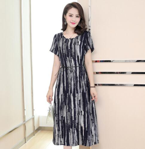 Summer Floral Dress Retro Women MiddleAged Plus Size ShortSleeved Dress  Fashion Cotton Printed Loose Long Dress