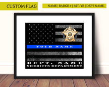 Load image into Gallery viewer, Police Officer retirement, thin blue line, Sheriff, Police, Thin blue line flag, Custom personalized,