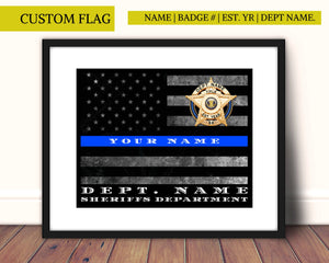 Police Officer retirement, thin blue line, Sheriff, Police, Thin blue line flag, Custom personalized,