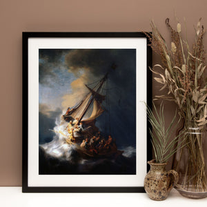 Rembrandt Christ In The Storm On The Sea Of Galilee Wall Art print, Rembrandt, Framed art, Home Decor, Rembrandt art, Rembrandt print