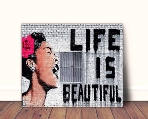 Banksy Canvas Art Print Life is Beautiful