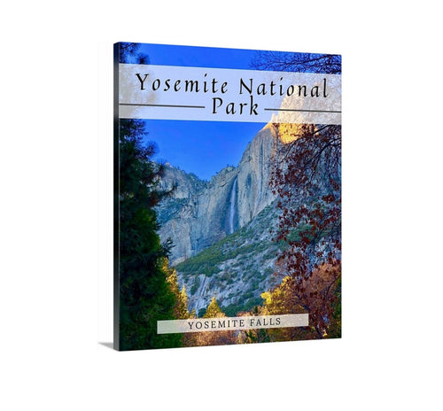 Yosemite National Park Travel Poster, Yosemite Falls, Poster, Framed art Print, Canvas Print, Landscape art