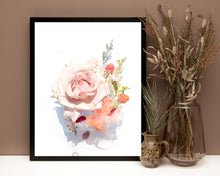 Load image into Gallery viewer, Rose Flower Print, Rose Canvas, Rose flowers canvas, home decor, botanical print art, flower print canvas