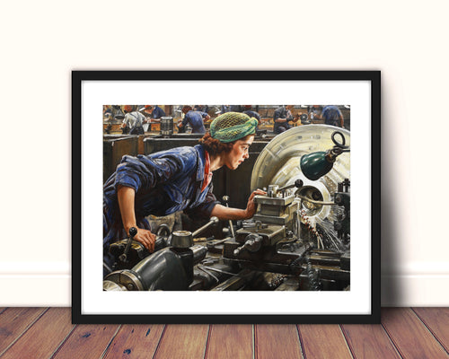 girl power feminist art ruby loftus screwing a breech ring feminist gift laura knight canvas art print