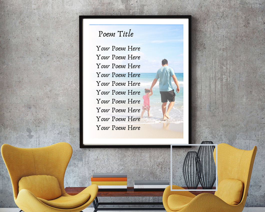 Custom poem print poetry gift picture frame wall art