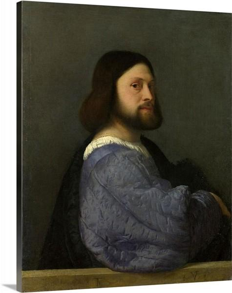 portrait of a man with a quilted sleeve 1510 by titian portrait of a man with a quilted sleeve titian canvas print classic art wall art print