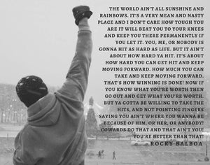 Rocky Balboa, rocky balboa quote speech, Inspirational Quote Print, Motivational, Movie poster,Boxing