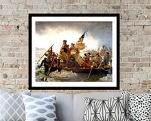Load image into Gallery viewer, George Washington, wall art, Framed art, Washington crossing, Washington, Washington crossing the Delaware, patriotic, revolutionary war