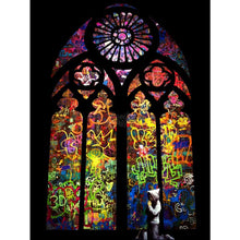 Load image into Gallery viewer, Banksy Graffiti Art art print framed of Stained Glass Window, Wall art framed for home decor