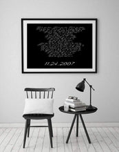 Load image into Gallery viewer, Song lyric art,  Anniversary gift, gift for her, Lyric print, song lyrics, gift for wife, First Anniversary, Paper Gift, Poster