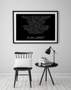 Song lyric art,  Anniversary gift, gift for her, Lyric print, song lyrics, gift for wife, First Anniversary, Paper Gift, Poster
