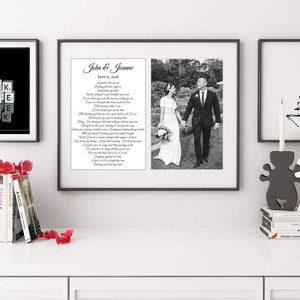 Custom Lyric feamed wall art print for wedding anniversary gift, First Dance Song Lyrics personalized with your wedding photograph